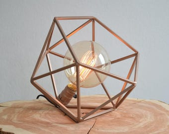 Table Lamp, Modern Geometric Edison Bulb Lamp, The Mercedes Geometric Table Lamp, UL Certified Residential Commericial, COPPER Color