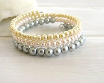 Romantic 3 wrap bracelet Pearly beads