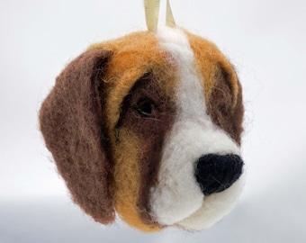 Needle Felted Ornament St. Bernard Dog