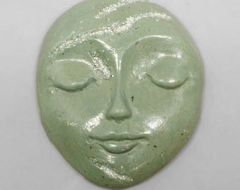 Green Faux Stone Polymer Clay Face Cabochon with Faux Druzy Art Doll Face