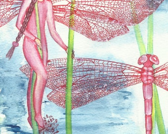 Red-veined Dragonfly Fairy, Original Art Work, Watercolour, Handpainted Fairy, Insect fairies, Fairy book, Fairy Painting, water-colors