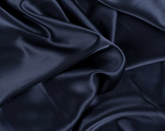 "45"" Wide 100% Silk Charmeuse Navy Blue By the Yard (1000M194)"