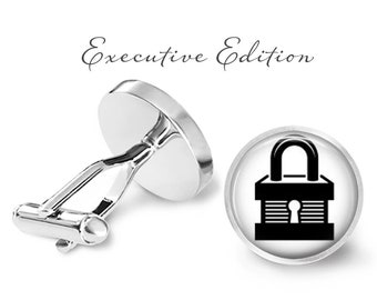 Padlock Cufflinks - Lock Cufflinks - Padlock Cuff Links - Lock and Key Cuff Links - Locksmith Cufflink (Pair) Lifetime Guarantee (S0703)
