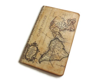 Map Travel Journal, World Map Notebook,  Atlas Diary, Geography Log, Vacation Pocketbook, Jotter, Graduation or Teacher Gift