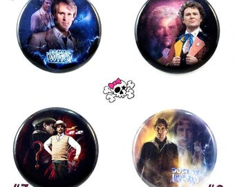DOCTOR WHO inspired photo art buttons  -  5th, 6th, 7th, 8th doctors