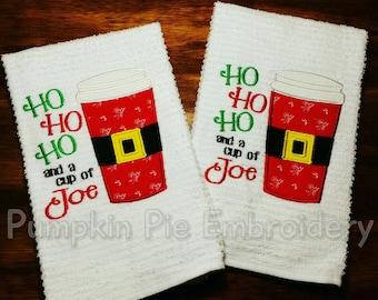 Ho Ho Ho and A Cup of Joe Hand Towels/SET OF TWO