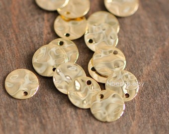 10pcs Hammered Disc Charms 8/ 10mm, Polished Gold plated Brass Round Coin Beads (GB-020)