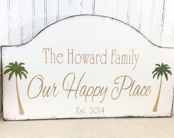 Personalized family beach house sign, beach decor, tropical sign, housewarming gift, realtor gift, Father's Day, vacation condo, custom sign