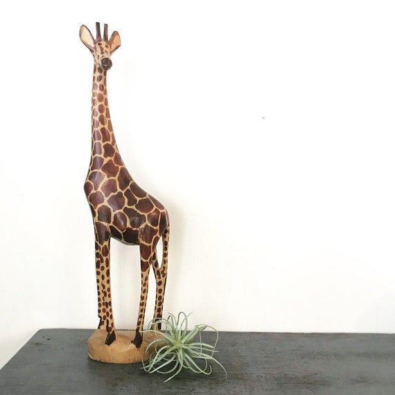 wooden giraffe sculpture - hand carved animal figure - wildlife safari - boho kids room decor