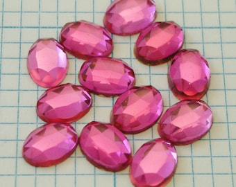 12 8x6mm Faceted Foiled Glass Cabochons - Rose