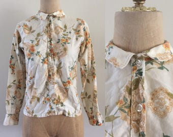 1950's Floral Mandala Cotton Button Up Size XS Small by Maeberry Vintage
