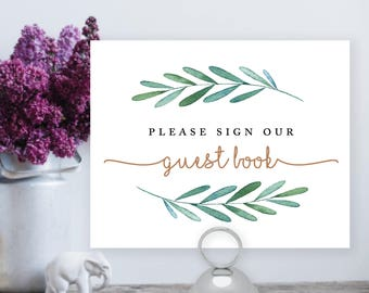 Printable Please sign our Guest Book, Greenery, Botanical, wedding, guestbook sign, printable sign, wedding digital file – Waverly