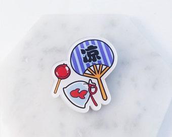Japanese fan pin; Summer pin; fan pin; festival ; Japanese festival