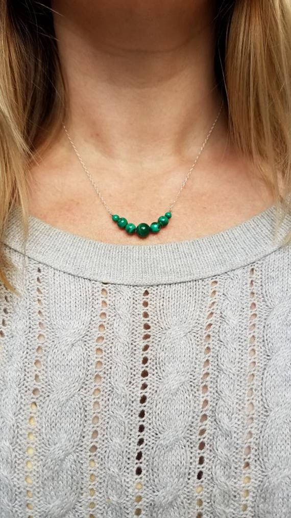 Malachite beaded necklace on sterling silver chain
