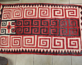 "Antique Early 1900s Navajo Rug 64"" x 37"""