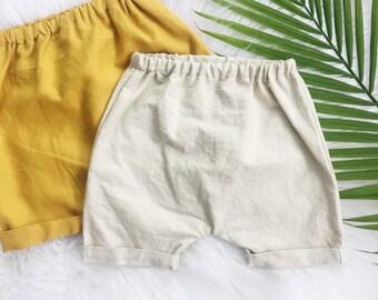 Linen Toddler Shorts / Linen Baby Shorts / Linen Harem Shorts / Cuffed shorts / toddler shorts / baby shorts / shorties