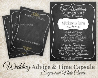 Custom Wedding Time Capsule- Wedding Wishes Poster- Anniversary Time Capsule Set- Advice Card Set- Wedding Guest Book Alternative- Custom