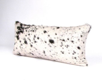 Black and White Cowhide Lumbar Pillow ~ Ivory and Black leather pillow