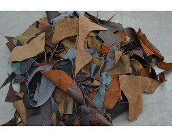 Small Scrap leather Upholstery cow hide remnants 1 pound mixed earthtone color TA-15080