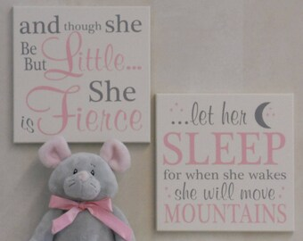 Baby Girl Nursery Decor Sign Gift- let her sleep for when she wakes she will move mountains, and though she be but little she is fierce