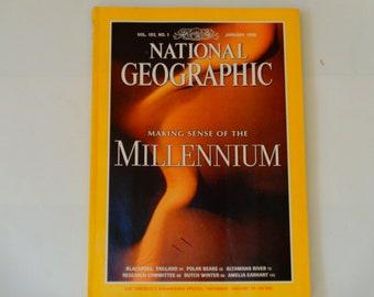 National Geographic January 1998 - Making Sense of the Millenium - Polar Bears - Altamaha River - Amelia Earhart - Vintage Magazines
