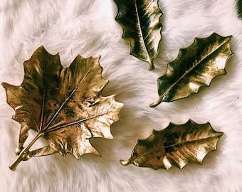 Vintage Set of 4 Brass Sugar Leaf Trinket Dishes / Catchalls / Signed 1959 Virginia MetalCrafters