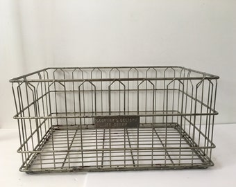 Vintage Metal Milk Crate Wire Basket Extra Large Size Rectangel Industrial Farmhouse Country's Delight Ice Cream 25 Inches long