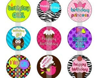 """Happy Birthday - one 4x6 inch digital sheet of 1"""" round images for bottlecaps, magnets, glass tiles, pendants"""