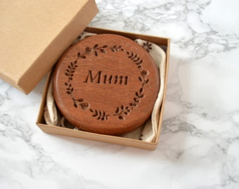 Personalised Sapele Compact Mirror  Wooden pocket Mirror   Maid of honour gift   anniversary gift   Wedding day Gift
