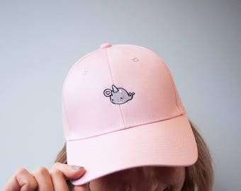 Cute Pink Narwhal Whale Hat with Heart Bubble - Embroidered Cap - Pink Hat