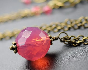 Hot Pink Necklace, Opal Dark Pink Glass Jewelry, Bright Pink Pendant Necklace, Winter Fashion, Ball Pendant, Antiqued Brass Chain