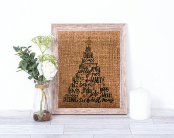 Christmas Tree Subway Art Burlap Print - Christmas Decor - Burlap Wall Decor - Christmas Wall Decoration