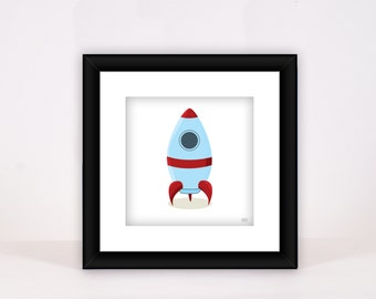 Blue and Red Rocket Print - Wall Decor - Nursery - Child Room