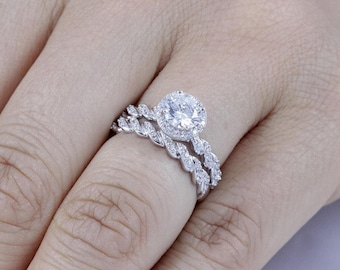 925 Sterling Silver Halo CZ Wedding Engagement Ring Set Women's Size 3-14 Half Sizes Available Ss1559