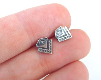 boho silver stud earrings - tribal - Silver studs - geometric