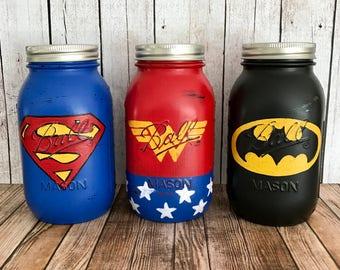 3 Superhero Mason Jar Banks, Wonder Woman, batman, superman, Set of 3 mason Jar banks, red white and blue, bedroom decor, birthday gift
