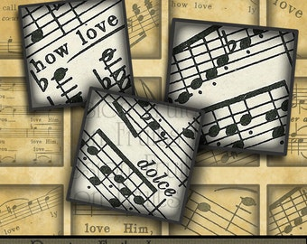 Shaded Love Notes 1 inch squares- Digital Collage Sheet from vintage sheet music--Instant Download