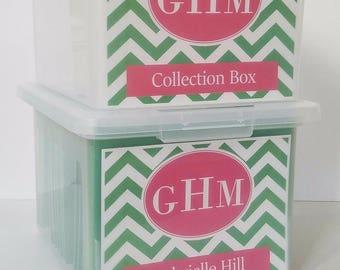 School Memory Box, School Keepsake Box, School Work Organizer, School Organizer, School Paper Storage  - PDF files-Pink/Green Chevron