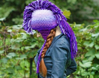 Purple Ombre Mohawk Hat Extreme Style Unique Handmade Beanie Skull Cap Christmas  Gift