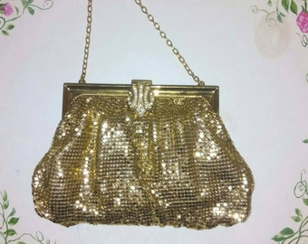 WHITING & DAVIS Vintage Gold Mesh EVENING Bag Purse Rhinestone Clasp 2896 plus Mini