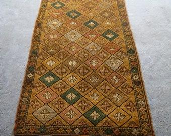 3'9''x6'7'' Turkish Overdyed Rug, Handwoven Carpet, Boho Area Rug