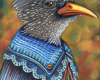 """Weisner - A Whimsical 8 x 10"""" ART PRINT of a Black Chinned Yuhina in a fantastic stylish blue cloak perfect for lovers of quirky characters"""