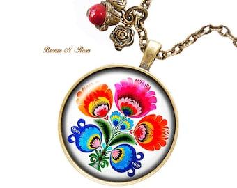 Necklace embroidery folk pattern setting Russian Slavic