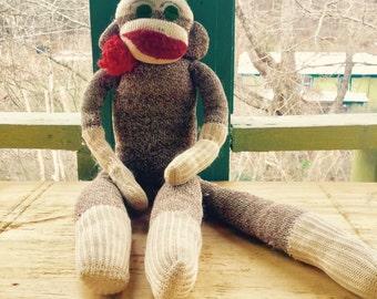 VIntage Handmade Appalachian Folk Art Sock Monkey