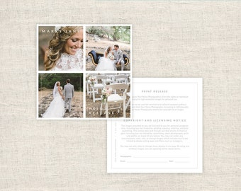 Wedding Photographer Licensing Forms - Print Release Template - Photo Marketing - Copyright Agreement for Photographers - INSTANT DOWNLOAD