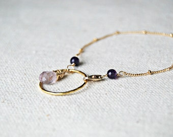 charmed... gold amethyst bracelet / lilac and dark purple amethyst & 14k gold filled charm bracelet / february birthstone