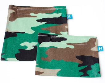 Reuseable Eco-Friendly Set of Snack and Sandwich Bags in Camouflage Fabric