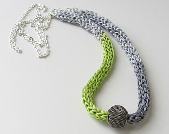 Silk necklace, fiber art necklace, statement jewelry, color blocked necklace, gray and green necklace, silk jewelry, knitted silk ribbon
