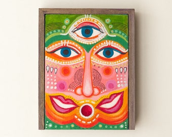 jewelry box, surreal art painted wooden box, acryic painting, quirky portrait art, surreal home decor, unique gift for her, gift for him