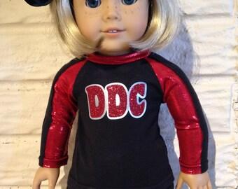 18 Inch or 15 Inch Dolly Red/Black Cheerleader Uniform